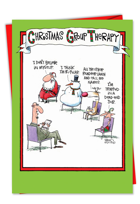 humorous christmas printed greeting card by glenn mccoy from nobleworkscardscom group therapy - Humorous Christmas Cards