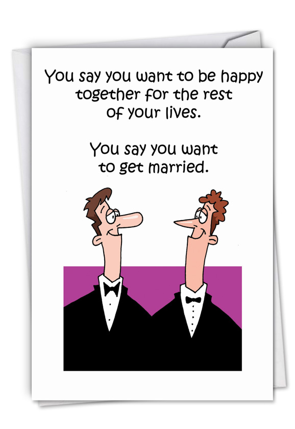 Image of: Humour Funny Humorous Wedding Paper Greeting Card By D T Walsh From Nobleworkscardscom Happy Gay Marriage Ebay Happy Gay Marriage Cartoons Wedding Greeting Card Dt Walsh