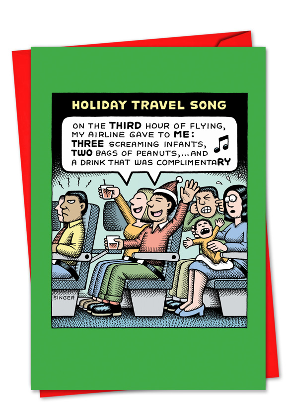 Holiday travel song cartoons christmas paper card andrew singer humorous christmas greeting card by andy singer from nobleworkscards holiday travel song m4hsunfo