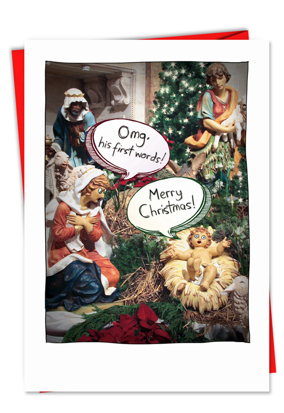 Jesus first words naughty sacrilegious christmas card funny christmas greeting card from nobleworkscards jesus first words m4hsunfo