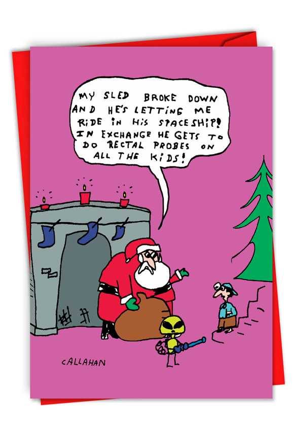 Humorous Christmas Cards.John Callahan S Santa And Alien Exchange Card
