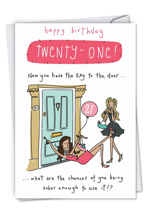 Key To The Door 21 Birthday Funny Greeting Card