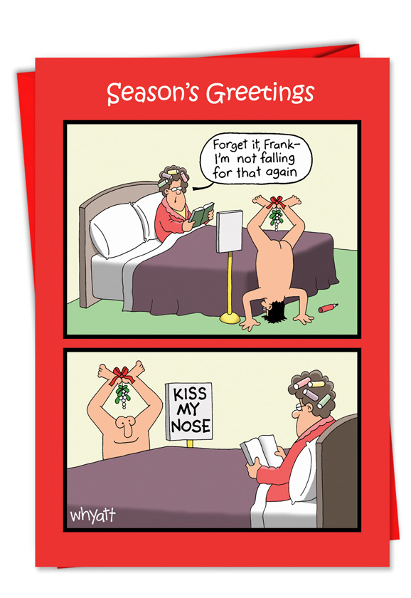 Hysterical Christmas Paper Card by Tim Whyatt from NobleWorksCards.com - Kiss Nose Mistletoe