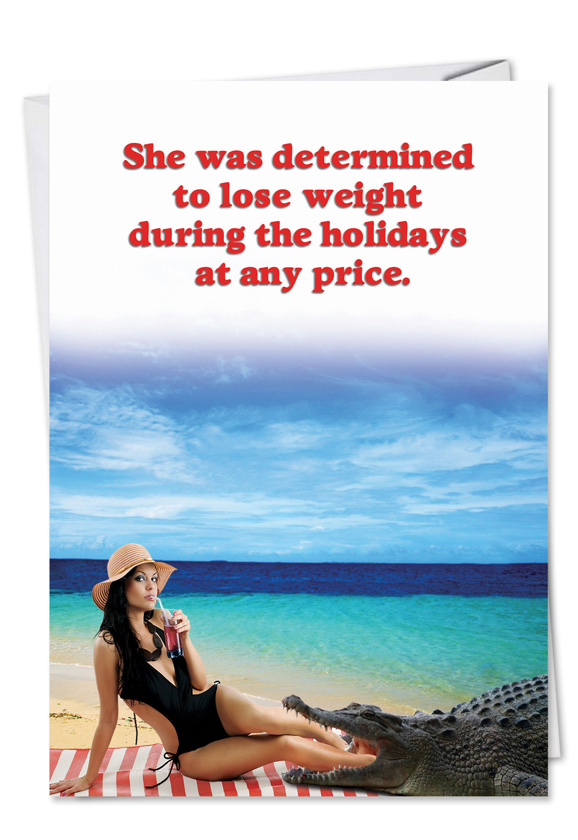 Funny Christmas Printed Greeting Card from NobleWorksCards.com - Lose Weight