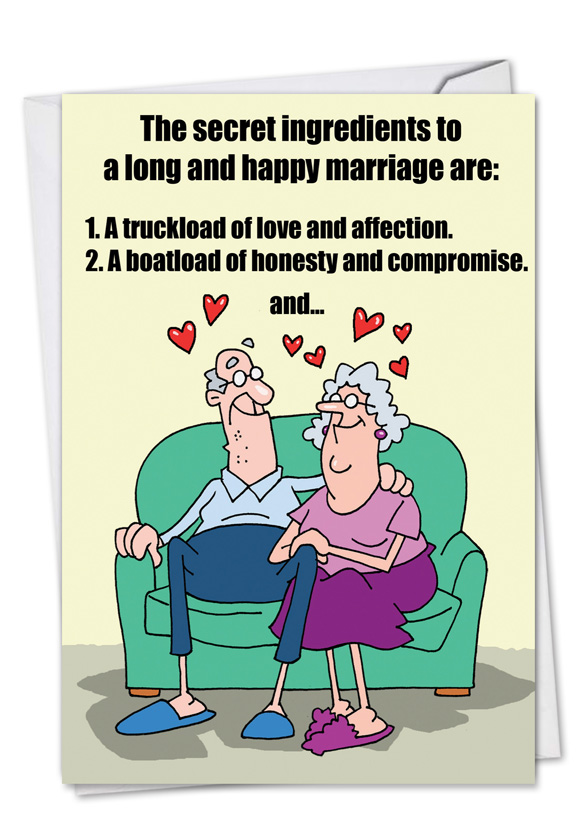 Image of: Joke Humorous Anniversary Paper Greeting Card By D T Walsh From Nobleworkscardscom Marriage Secrets Krahnicles Couple Secrets Funny Anniversary Card Nobleworks Cards