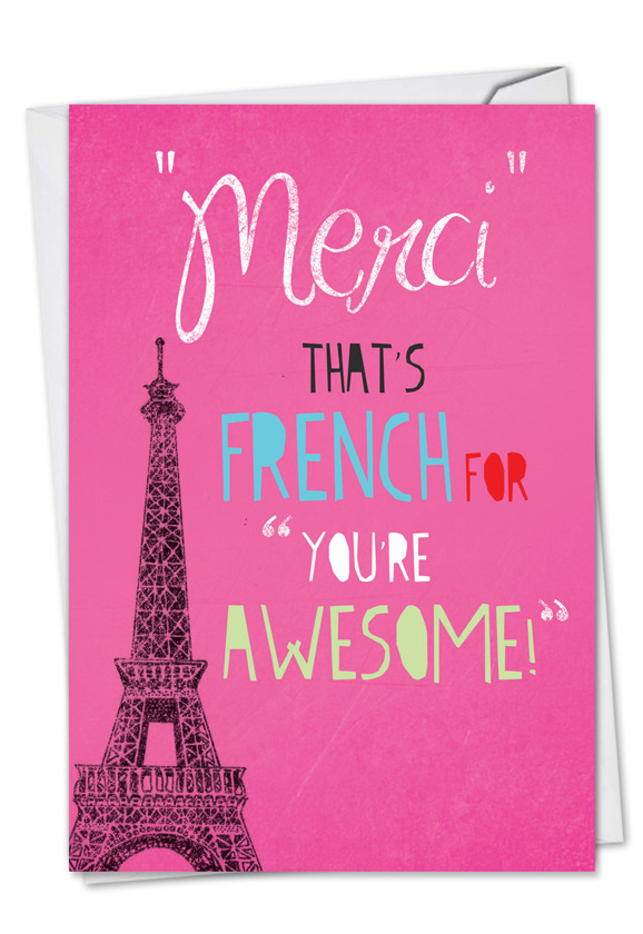 Merci youre awesome red rocket thank you card nobleworks hilarious thank you greeting card from nobleworkscards merci youre awesome m4hsunfo