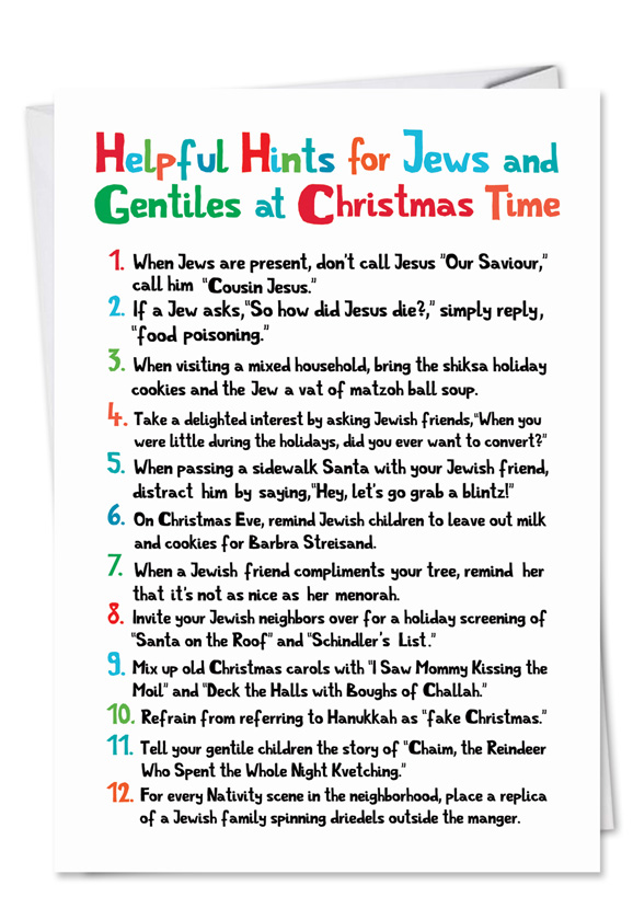 Merry X-Mas to Jew Funny Christmas Cards for Jews