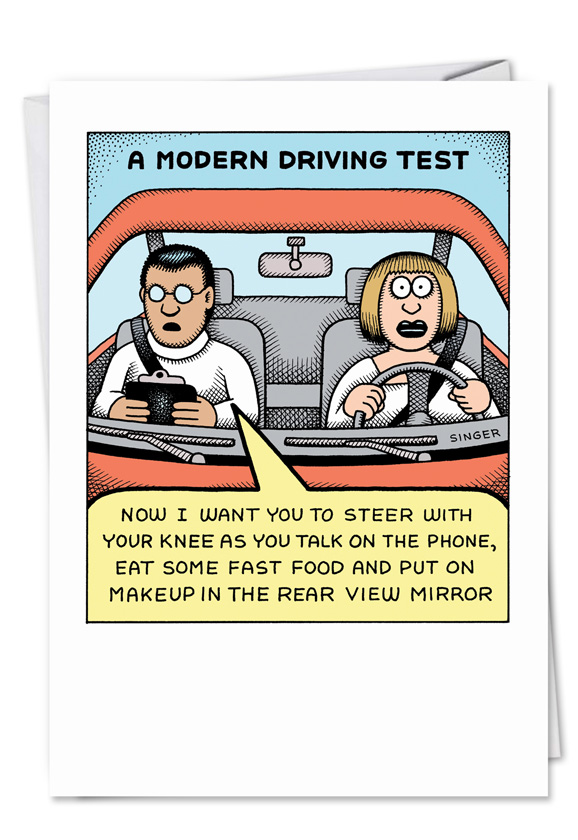 Modern Driving Test Funny Birthday Card