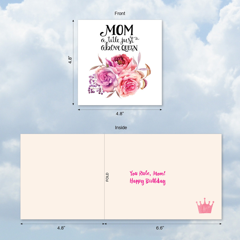 Mom Title Above Queen Creative Birthday Mother Square Top Card