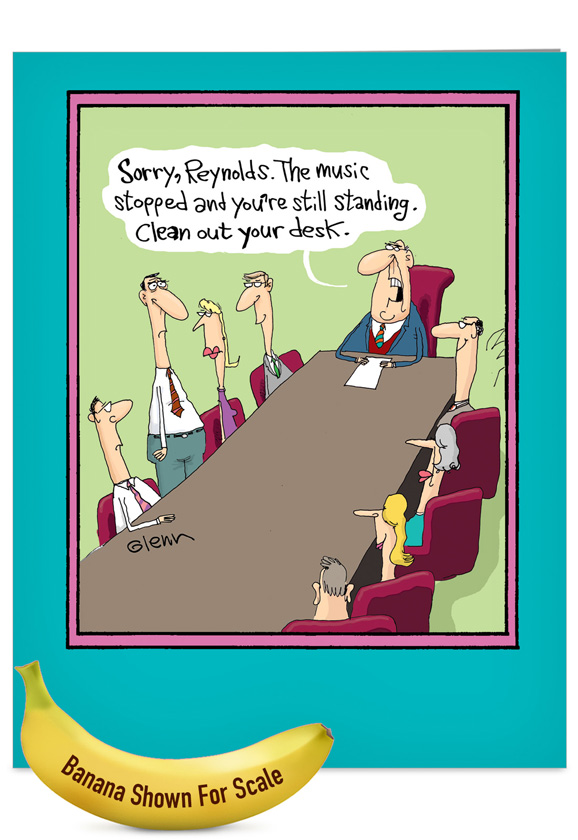 Musical chairs cartoons retirement card glenn mccoy funny retirement jumbo printed greeting card by glenn mccoy from nobleworkscards musical chairs m4hsunfo