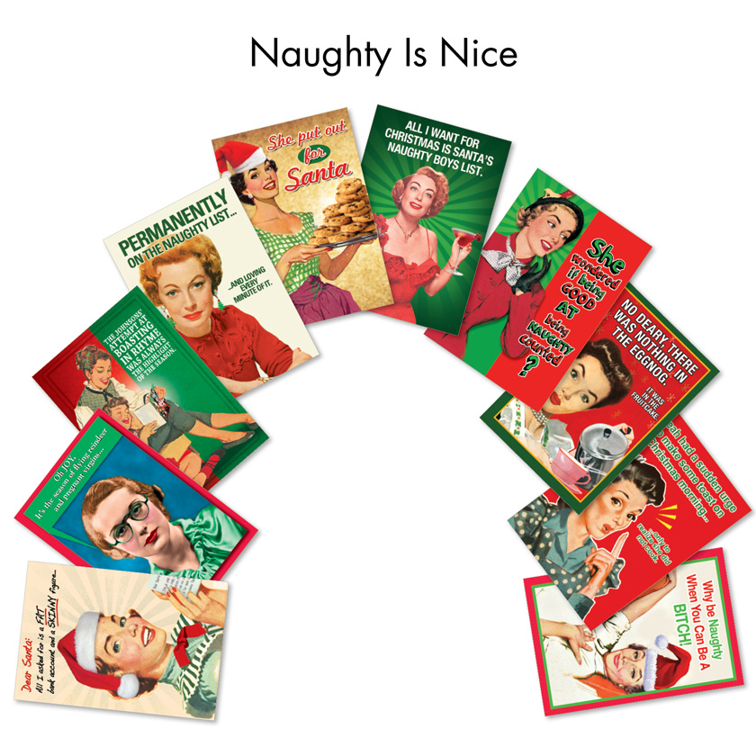 Naughty Is Nice Funny Vintage Christmas Card Assortment