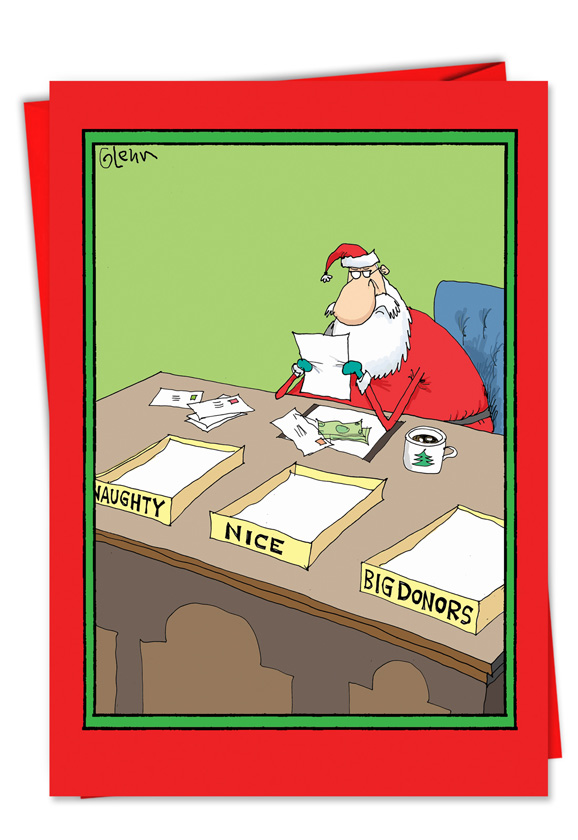Naughty Nice Big Donors Christmas Joke Paper Card – Nobleworks Cards