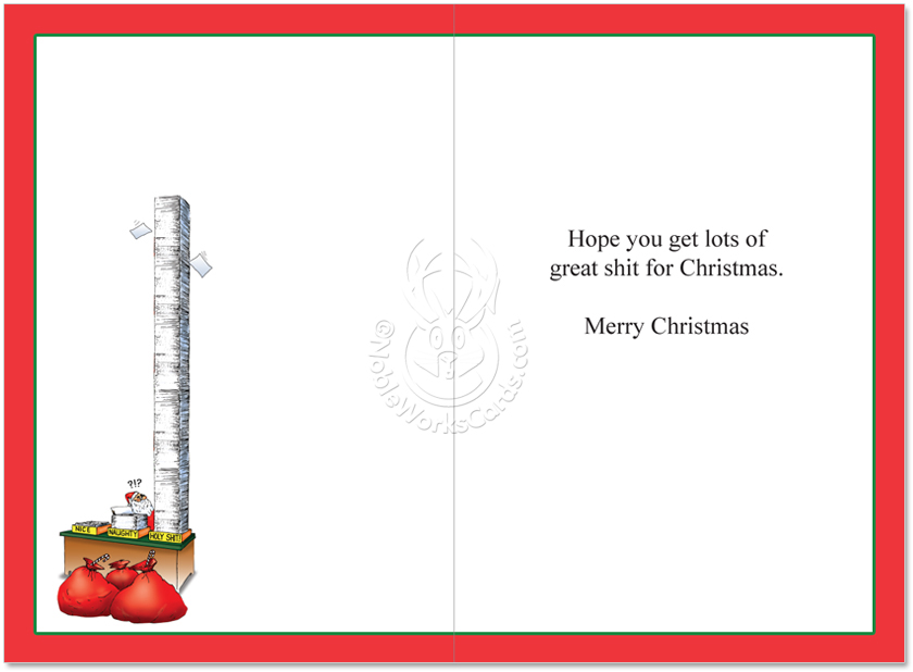 Humorous Christmas Paper Greeting Card by Tom Cheney from  NobleWorksCards.com - Naughty Nice Holy ...