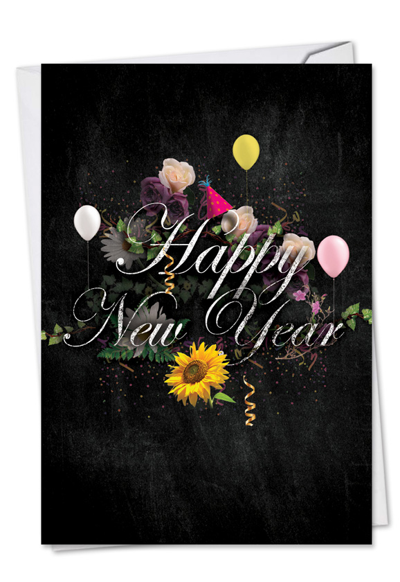 stylish new year paper greeting card from nobleworkscardscom chalk and roses