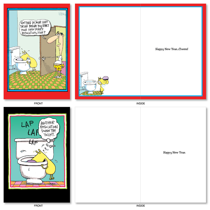New Year\'s Punch Lines Cartoons New Year Assorted Cards By Glenn Mccoy