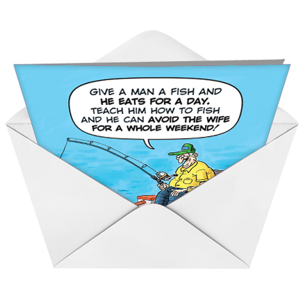 Old Fisherman Joke Funny Birthday Father Paper Greeting Card