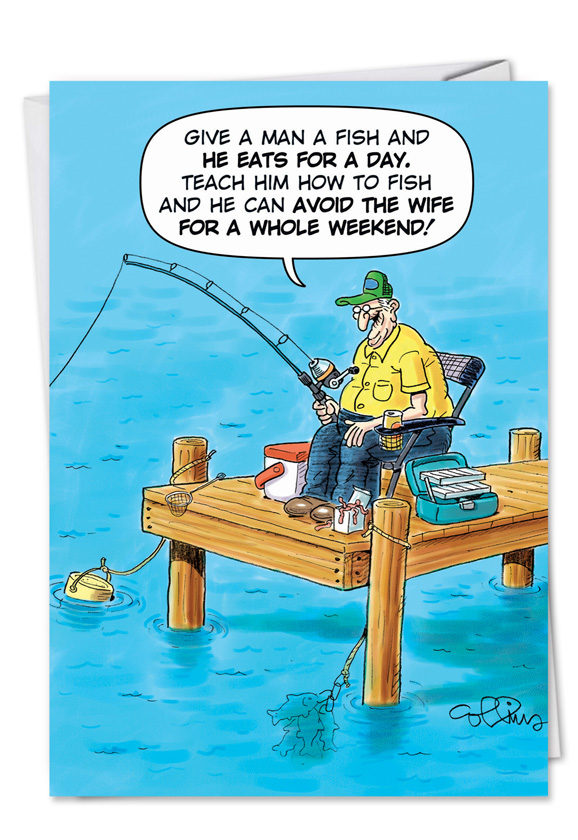 Old Fisherman Joke Cartoons Birthday Father Greeting Card Daniel Collins