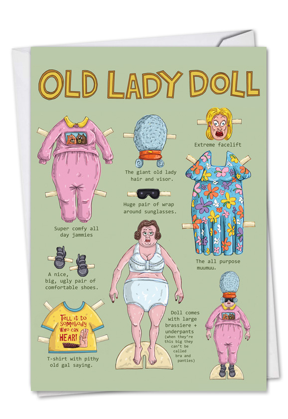 Old lady doll cartoons birthday greeting card mike shiell m4hsunfo