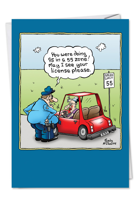 Old lady license funny cartoons happy birthday card humorous birthday greeting card by randall mcilwaine from nobleworkscards old lady license m4hsunfo