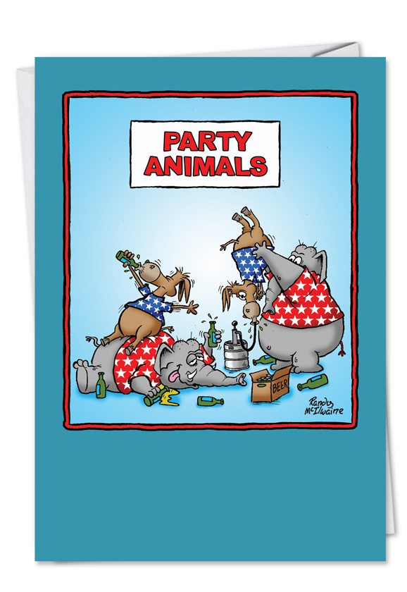 Adult funny birthday card party animals bookmarktalkfo Choice Image