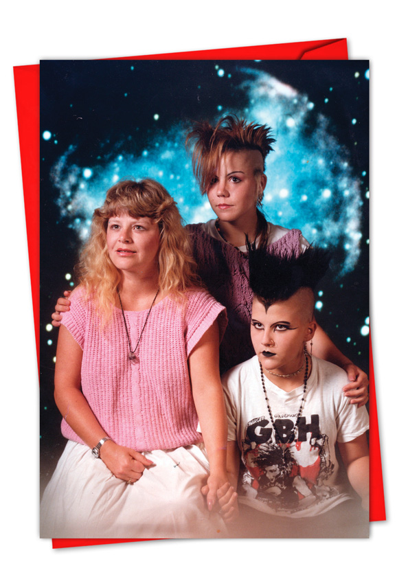Punk family red rocket seasons greetings card hilarious seasons greetings greeting card by awkward family photos from nobleworkscards punk family m4hsunfo