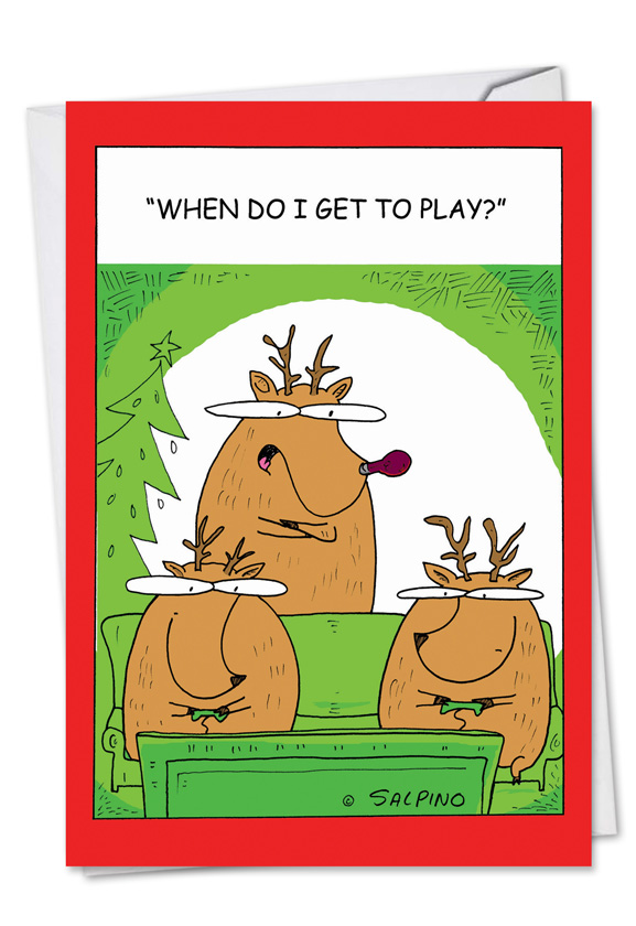 Reindeer video games cartoons christmas card michael salpino funny christmas printed card by michael salpino from nobleworkscards reindeer video games m4hsunfo