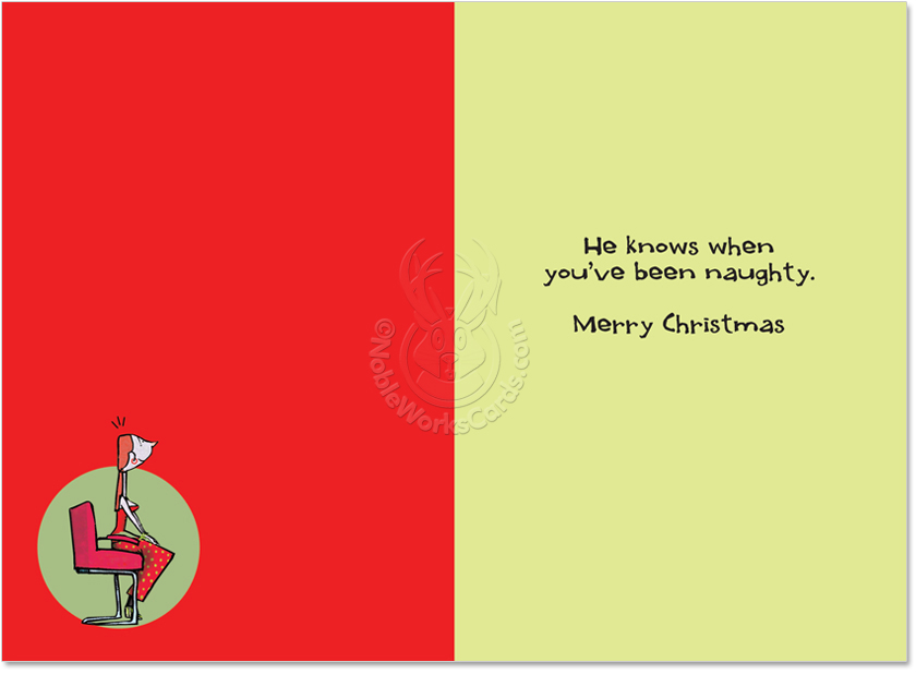 He Knows When You\'ve Been Naughty Funny Christmas Card