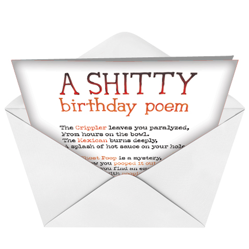 Shitty poem birthday card funny birthday paper greeting card from nobleworkscards shitty poem image 2 bookmarktalkfo
