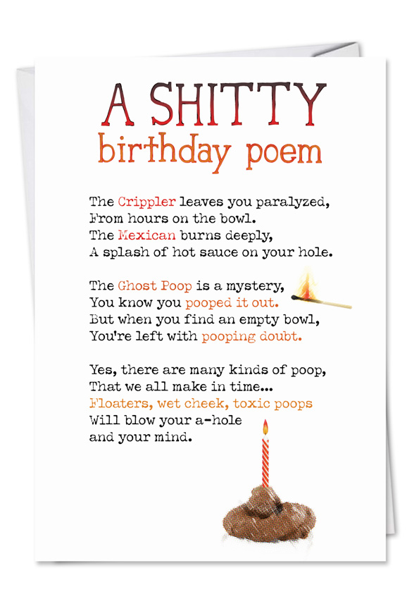 Shitty poem birthday card funny birthday paper greeting card from nobleworkscards shitty poem bookmarktalkfo Images