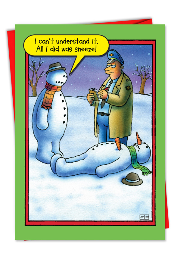 snowman sneeze funny christmas card