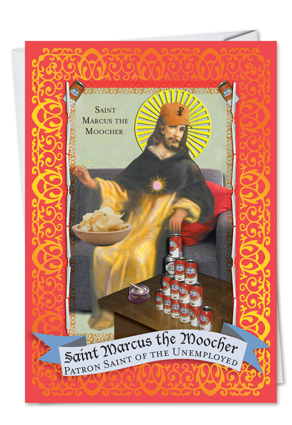 St Marcus The Moocher Unique Naughty Birthday Greeting Card