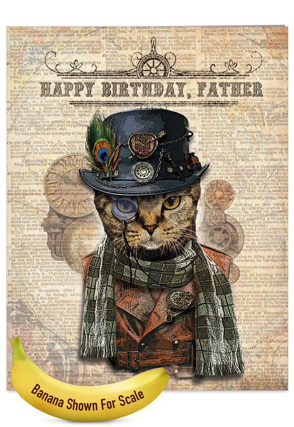 Steampunk Cats Nobleworks By Design Birthday Father Paper Card – Steampunk Birthday Card