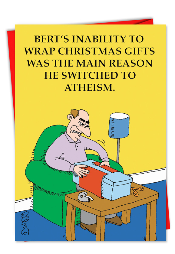 Converting to atheism christmas card nobleworkscards hilarious christmas paper greeting card by jc duffy from nobleworkscards switched to atheism m4hsunfo