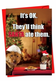 Think Santa ate them Card