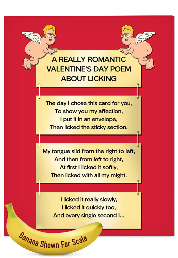 humorous valentines day jumbo printed greeting card by tim whyatt from nobleworkscardscom licking