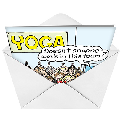 Yoga class cartoons not greeted greeting card randy mcilwaine funny blank printed greeting card by randall mcilwaine from nobleworkscards yoga class image m4hsunfo
