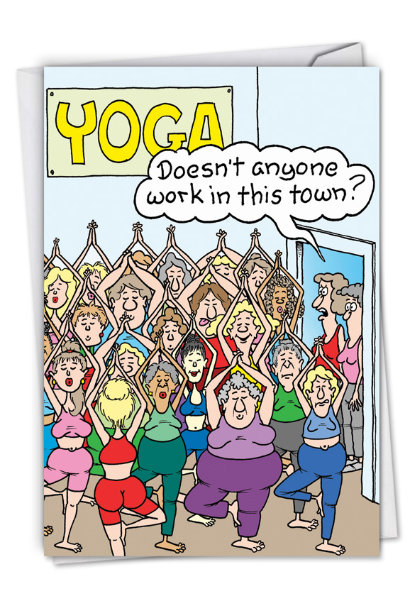 Yoga class cartoons not greeted greeting card randy mcilwaine funny blank printed greeting card by randall mcilwaine from nobleworkscards yoga class m4hsunfo