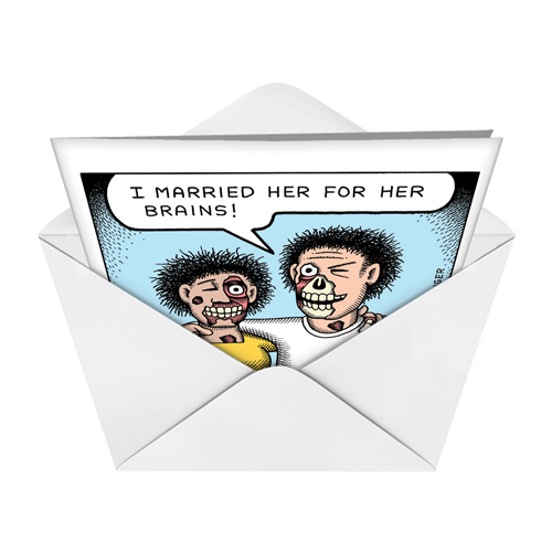 Zombie marriage cartoons anniversary greeting card andrew