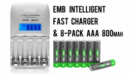 8-Pack AAA 800mAh NiMH Rechargerable Battery+1 Hour Fast Charger