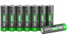 8-pcs AA 2200mAh NiMH Rechargerable Battery