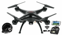 Syma X5SW Explorers 2 2.4GHz 4 Channel WiFi FPV  Quadcopter with 3MP 720P HD Camera 6 Axis 3D Flip Flight UFO RTF IOS and Android Compatible (Black) RC Remote Control Radio