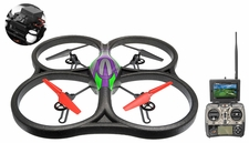 WLtoys V666 5.8G FPV 6 Axis 2.4G  Quadcopter Drone with HD Camera Monitor RTF Green w/4GB Memory Card RC Remote Control Radio