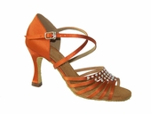 Girls latin shoes Orange red satin 175404
