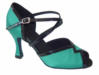 Green Satin and black leather Sandal 272102