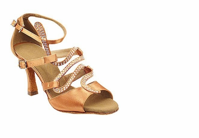Wide fitting Tan Satin Sandals s7017-5
