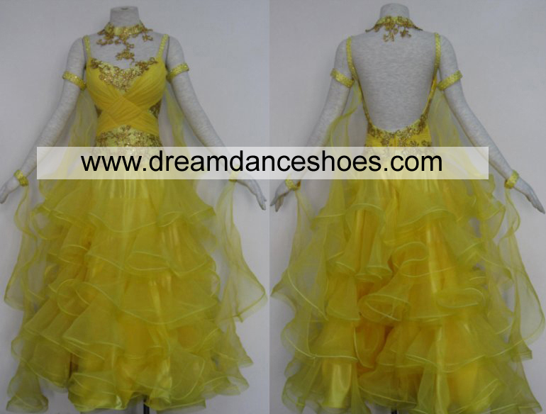 Yellow Ballroom Smooth Dance Gowns B720