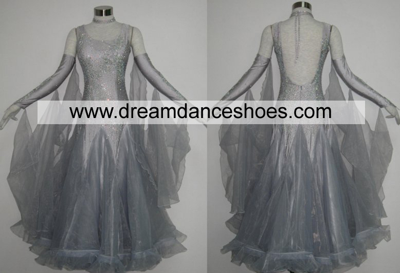 Grey Ballroom Smooth Dance Gowns B722