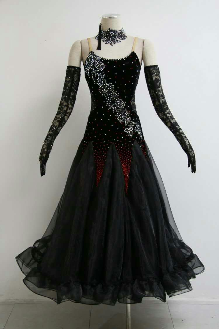 Black ballroom dance dress B1588