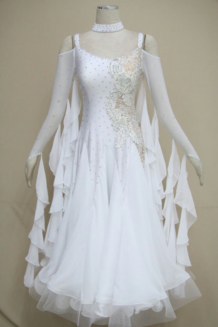 White ballroom dance dress B1590