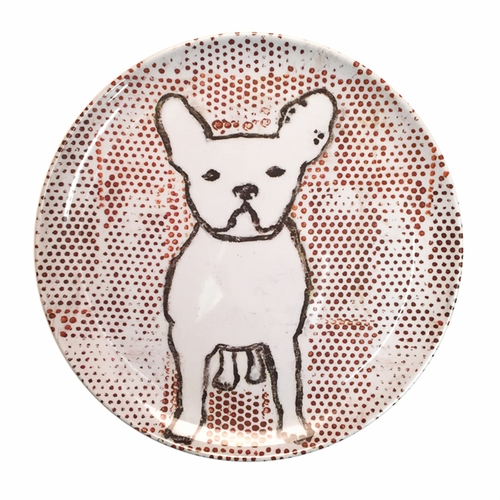 "10"" Frenchie With Dots Melamine Plates (Set of 4) by Sugarboo Designs"